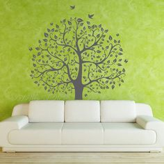 tree wall decals children nature green tree wall mural nursery wall decal wall sticker vinyl mural J557.: