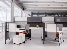 """""""Premise"""" panel based workstations by Haworth. System Furniture, Office Furniture, Cubicle Design, Work System, Industrial Office, Innovation, Interior Design, Office Spaces, Work Spaces"""