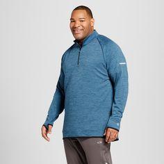 Men's Big & Tall Run 1/4 Zip Layer Pullover - C9 Champion - Railroad Gray 2XBT, Size: L Tall, Teal Regatta