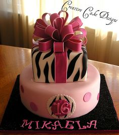sweet sixteen cake.  I have to make a shower cake that looks like this