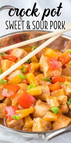 Crockpot Sweet and Sour Pork is the easiest Chinese food recipe you'll ever make. Mix up the sauce, throw everything in the slow cooker, and walk away! Crockpot Asian Recipes, Easy Chinese Recipes, Chinese Slow Cooker Recipes, Pork Recipes, Healthy Recipes, Crockpot Meals, Healthy Meals, Healthy Slow Cooker, Slow Cooker Pork