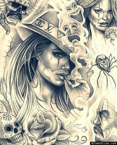 Classy Chicana Barrio Art and Graphics Chicano Tattoos, Art Chicano, Chicano Drawings, Body Art Tattoos, Tattoo Drawings, Art Drawings, Prison Drawings, Gangster Tattoos, Tattoo Art