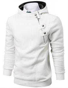 Doublju - Blusa Unballance Zip Button com Capuz (BSH24) Compre roupas de qualidade, com design inovador e preço justo!