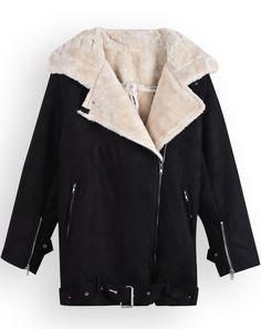Manteau zippé à manche longue -Noir