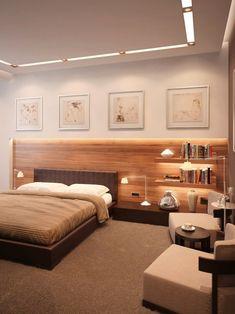schlafzimmer deckegestaltung holz hinter bett regale lederkopfteil