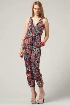 Multi Color - Patterned Zippy Jumpsuit by MİSO @Trendyol
