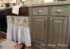 vintage farm kitchen, home decor, kitchen design, painted furniture, Sink skirt and repurposed wood trim