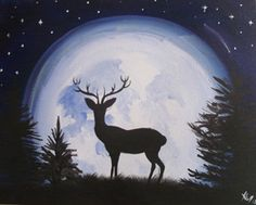 Paint Nite: Discover a new night out and paint and sip wine with friends Easy Paintings, Animal Paintings, Painting & Drawing, Watercolor Paintings, Wine And Canvas, Silhouette Painting, Deer Silhouette, Deer Art, Paint And Sip