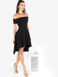 SheIn offers Bardot Dip Hem Skater Dress & more to fit your fashionable needs. Sexy Dresses, Casual Dresses, Short Sleeve Dresses, Dresses With Sleeves, Summer Dresses, Mini Dresses, Stylish Dresses, Formal Dresses, Bardot Skater Dress