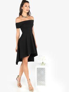 Vestido línea A con hombros al aire - negro -Spanish SheIn(Sheinside)