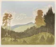"""✨ Erich Buchwald-Zinnwald - Herbst am Geising, 1930, Farbholzschnitt, in Blei signiert betitelt u. bezeichnet """"Originalholzschnitt"""", 25,1 x 30,1 cm [1]"""