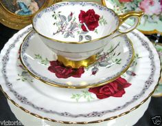 Royal Stafford Tea Cup and Saucer Trio Roses to Remember