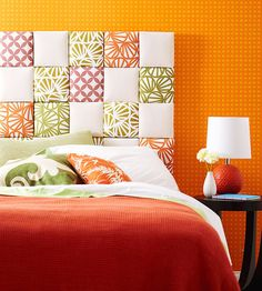 Custom Upholstered Headboard- Use florist's foam squares, small pieces of fabric, quilt batting, and plywood squares. Cool!
