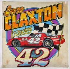 Original 1992 Gene Claxton Racing #42 Silk Screen Test Print Modifieds T-Shirt