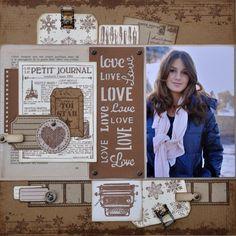 """Une page LOVE de Cathyscrap85 avec dies """"love"""" de FD: http://cathyscrap85.over-blog.com/2014/12/une-page-love.html"""