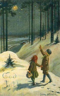 illustration by Jenny Nystrom Swedish Christmas, Noel Christmas, Scandinavian Christmas, Vintage Christmas Cards, Christmas Images, Vintage Holiday, Christmas Greetings, Vintage Cards, Winter Christmas