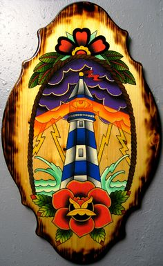 By Zack Taylor #lighthouse#rose#wood#painting