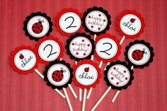 PRINTABLE PARTY CIRCLES - Little Ladybug Collection - DIY by The TomKat Studio. $12,00, via Etsy.