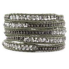 Chan Luu - Crystal Satin Mix Wrap Bracelet on Gauriya Leather, $295.00 (http://www.chanluu.com/wrap-bracelets/crystal-satin-mix-wrap-bracelet-on-gauriya-leather/)