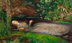"One of the famous painting of Ophelia drowning in Hamlet Act IV, Scene VII by British artist Sir John Everett Millais, completed between 1851 and Hoe, Ellen. ""The Meaning Of 'Ophelia' By John Everett Millais. Dante Gabriel Rossetti, Google Art Project, William Blake, William Morris, John Everett Millais Ophelia, Ophelia Painting, Elizabeth Siddal, Pre Raphaelite Paintings, Art History"
