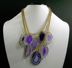 purple Necklace agate slice on gold tone chain by beadplace, $65.00
