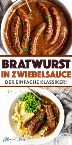 Bratwurst mit Zwiebelsauce: Bangers and Mash Simply Homemade! Easy Pasta Dinner Recipes, Easy Casserole Recipes, Healthy Dinner Recipes, Bangers And Mash, Easy Meal Prep, Quick Easy Meals, Bratwurst Recipes, Food Inspiration, Cooking