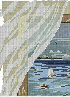 Window/boat cross stitch pattern