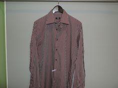 Hugo Boss Designer Purple Stripe Cotton Button Front Dress Shirt 16.5-42 Mint    #HUGOBOSS