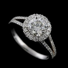 Diamond Halo Style Split Shank Micro Pave Platinum Engagement Ring Mounting $1700