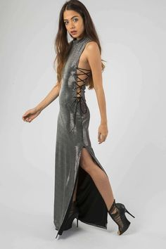 **Silver Metallic Side Lace Up Dress by Jaded London - Dresses - Clothing - Topshop Europe