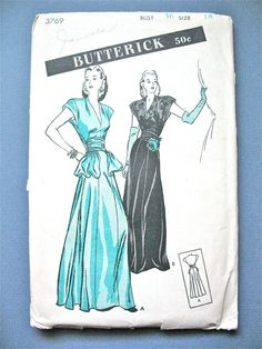 1940s Evening Gown Dress Pattern by Butterick 3769 by Fancywork