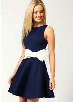 White bow navy blue dress