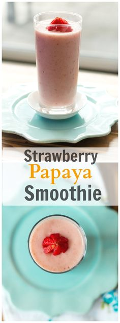 This delicious Strawberry Papaya Smoothie is dairy-free and loaded with vitamins and fiber. Enjoy! primaverakitchen.com