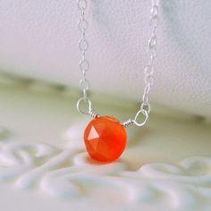 Orange Carnelian Choker Gemstone Necklace Simple by livjewellery on etsy