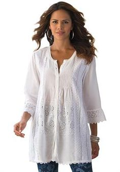 Eyelet Pleated Bigshirt by Denim 24/7® | Plus Size New Spring Collection | Roamans