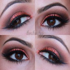 Orange Glitter Eye Makeup - #eyeshadow #eyemakeup #orangeglitter #orange #glitter #lauralee - bellashoot.com