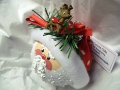 Rudolph Santa Clause Ornament Tree Bulb Hand Painted Glass Red White Polka Dot Hat