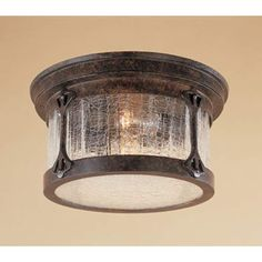 Canyon Lake Chestnut Two-Light Outdoor Flush Mount