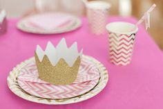 My daughters Pink and gold princess party Cinderella Birthday, Princess Birthday, Princess Party, Pink Gold Party, Pink And Gold, Kids Party Hire, Crown Party, Party Themes, Party Ideas