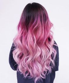 pink hair color ombre | hairstyles | dark root | dip dyed | light pink | purple | pastel | long hair | curly #WomenHairColorPurple