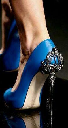 Blue pumps unique heels