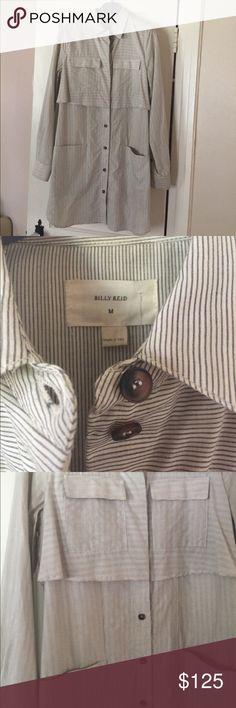 Billy Reid Cotton shirt dress Lightweight cotton striped button down dress Can be worn as a tunic over pants or lightweight jacket Billy Reid Dresses Midi