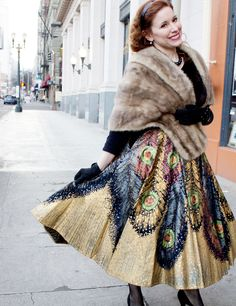Amazing peacock feather skirted lady named Jennifer photographed by @Solanah Cornell at the 2nd Fur and Feather Luncheon. Close up of sequinning on http://liliesandremains.blogspot.com/ too.