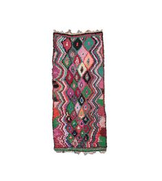 Moroccan BOUCHEROUITE Rug. Mid Century Modern Wall Art. Abstract Painting Rug. Pink coral blue Bohemian Quilt. Danish Pottery Compliment.