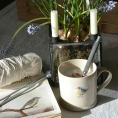 Having coffee with one of my favourite birds 💛 www.thereedwarblers.com Inspired by Nature