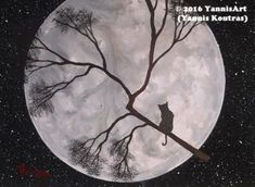 """""""Acrylic on Canvas"""" Code: Cat on the Full Moon My YouTube Channel:  https://www.youtube.com/user/KoutrasArt"""