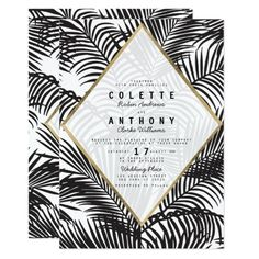 """Modern black white gold tropical floral wedding card. Regular price: $2.01 US per 5"""" x 7"""" card. Save 40% with 100 invites. Visit link to see how much you can save!"""