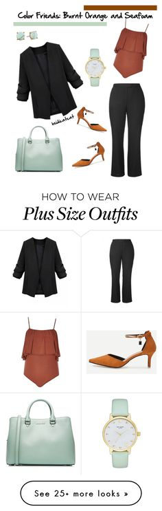 """""""Color Friends: Burnt Orange and Seafoam"""" by heidicatcat on Polyvore featuring MICHAEL Michael Kors, Kate Spade, River Island, WithChic, Carolee, WorkWear, plus, plussize and plussizefashion"""