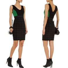 Bailey 44 Plaid and Green Dress Beautiful Bailey 44 dress.  Plaid bottom. Black and green jersey-knit top. Bailey 44 Dresses