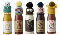 Innocent smoothie hats - Demonstrating how simplicity and quirkiness can create a real emotional connection with an audience Innocent Smoothie, Innocent Drinks, Beverage Packaging, Bottle Packaging, Wooly Hats, Knitted Hats, Cheerleading Photos, Liquid Lunch, Big Knits